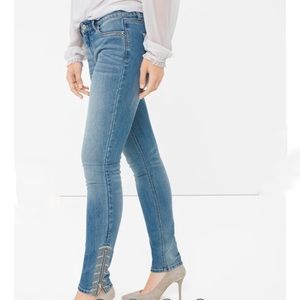 White House Black Market Embroidered Skinny Jean